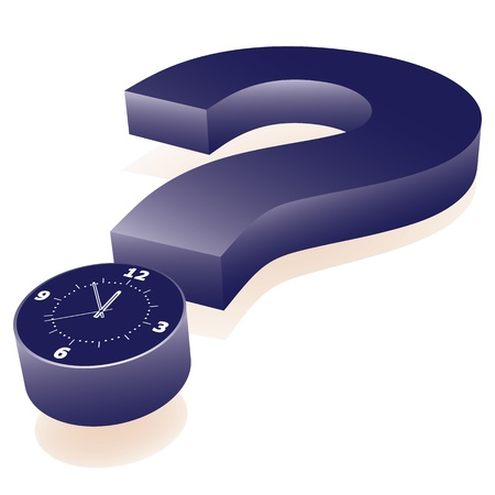 Clock as point of question mark. Abstract illustration.