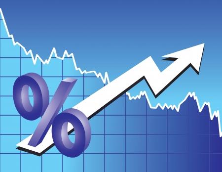 signo de porcentaje con flecha sobre fondo de tendencia bursátil