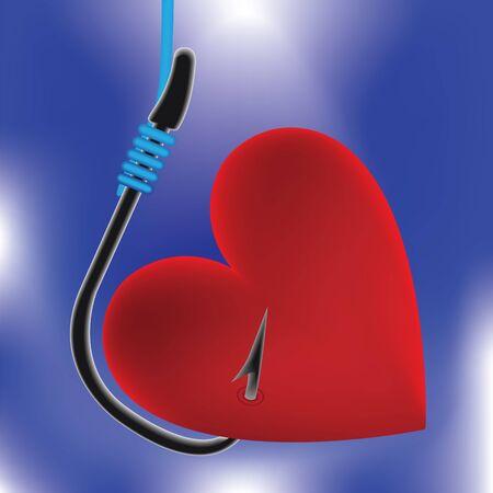 Heart on fishing hook. Abstract illustration. Stock Vector - 10597353