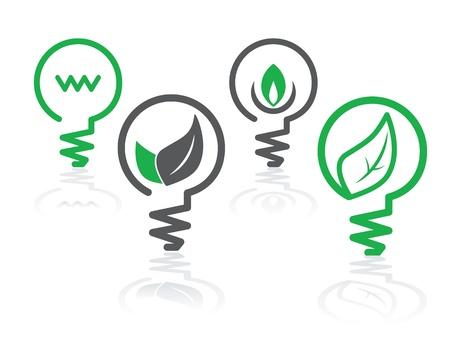 bombillo: conjunto de iconos de �rea verde con las bombillas y las hojas Vectores