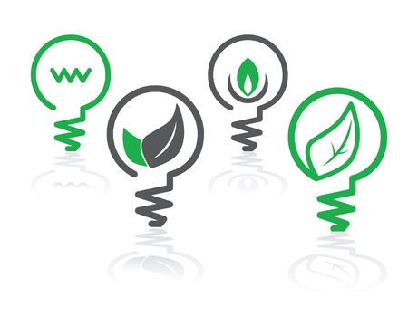 green bulb: set of environment green icons with light bulbs and leaves Illustration
