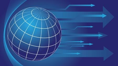 지구 글로브와 화살표가 파란색 추상적 인 배경