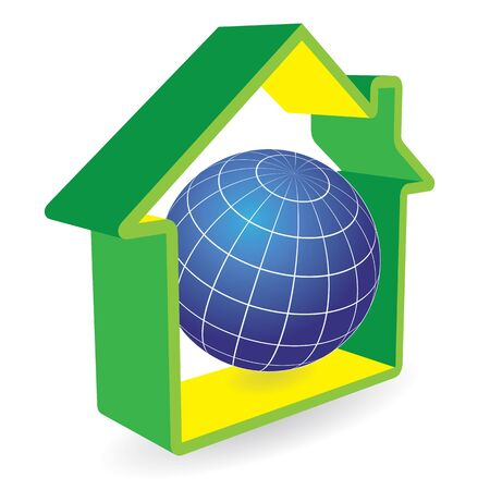 green environment: Earth globe in house. Abstract green environment illustration. Illustration