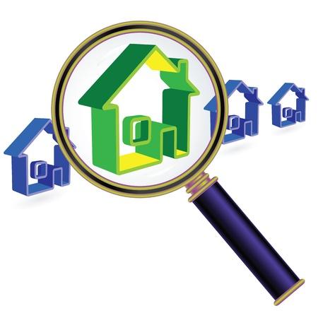 жилье: Дом знак под стеклом лупы. Понятие недвижимости.