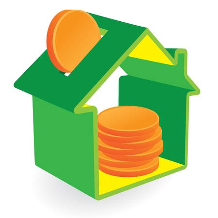 緑の家の貯金箱とコインの兆候。不動産と環境の概念。
