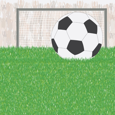 Soccer ball on green field on fans and goal background. Sport competition concept illustration. Vector