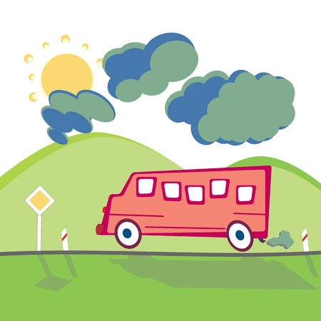 animated cartoon: Running Bus on the mountain road in animated cartoon childish style