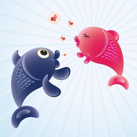 Fish in love. Romantic feelings concept illustration.