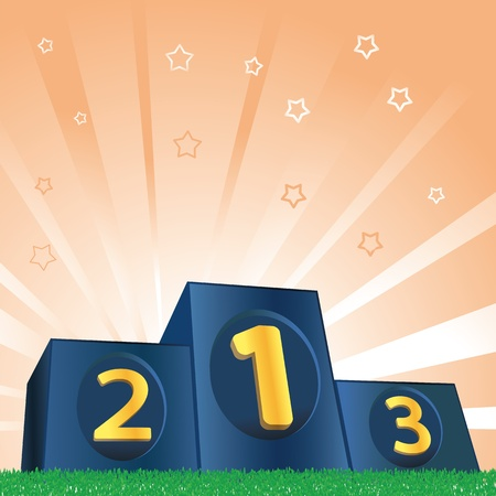 podium: Winners podium on green grass and shiny background Illustration
