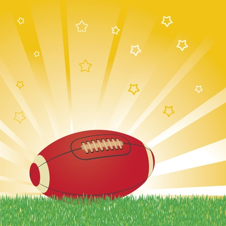 touchdown: American football ball on field and shiny background Illustration