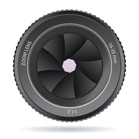 흰색 배경에 고립 된 카메라 렌즈