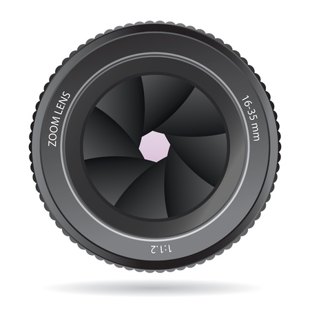 shutter aperture: Camera Lens isolated on a white background