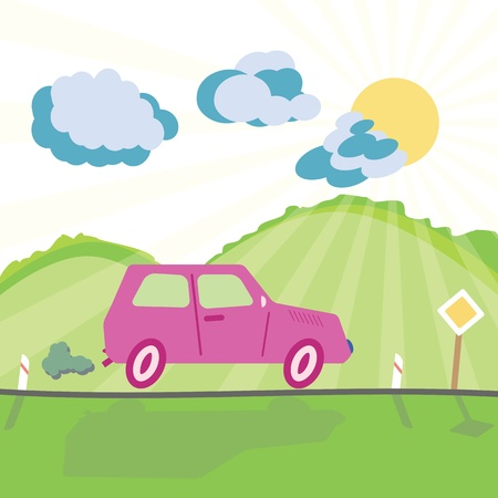Car on the mountain road and shiny sunny background in childish cartoon style Vector
