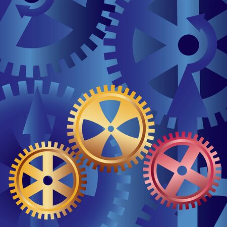 golden gears on blue background Stock Vector - 11094226