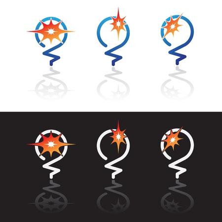 Abstract Glowing Glühbirnen Symbole auf weißen und schwarzen Hintergrund isoliert