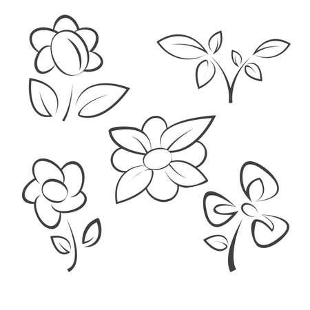 flower icons set illustration Stock Vector - 11937738