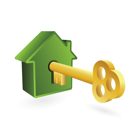 鍵穴とキーのイラストを白で隔離される家のシンボル