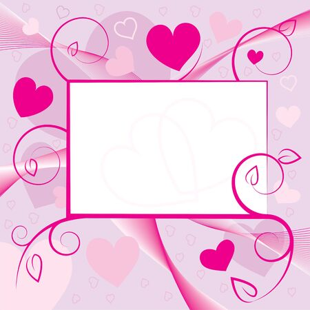 Valentine greeting card with hearts and swirls. Vector illustration. Stock Vector - 11967304