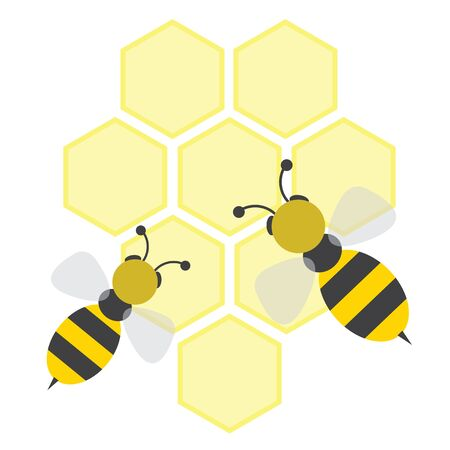 Cartoon bees on honeycells. Vector illustration.