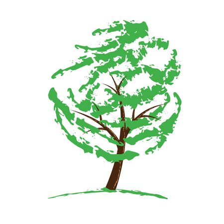 Green tree drawing isolated on white. Vector illustration. Stock Vector - 12175586
