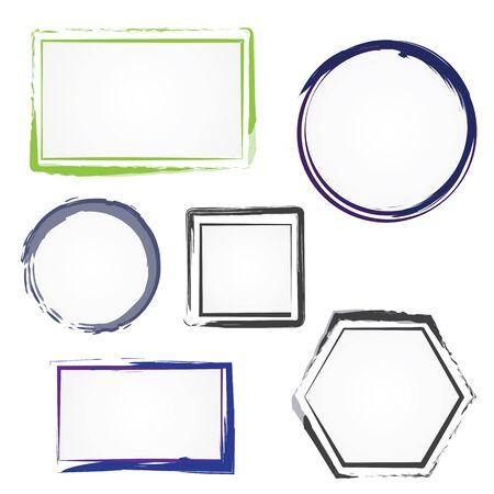 Set of painted frames. Vector illustration.