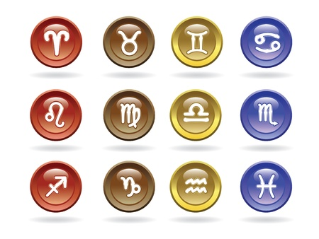 zodiacal: Zodiac signs Glossy icons. Vector illustration.