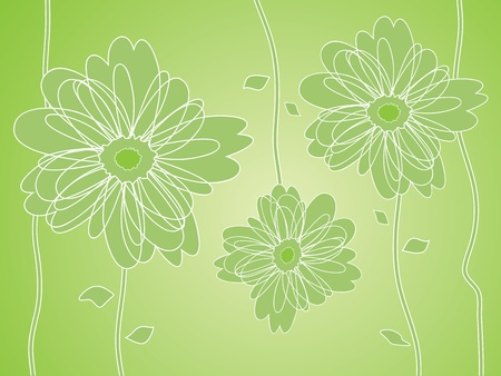 Green Flower silhouettes background, vector illustration.