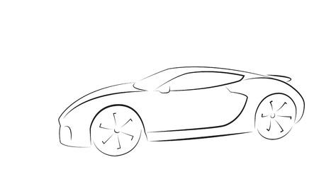 white car: Sport car silhouette. Illustrazione vettoriale.