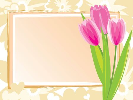 Festive card with pink tulips. Vector illustration. Vector