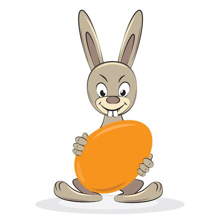 Funny Easter rabbit with egg. Vector cartoon illustration. Stock Vector - 12346097