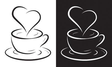 ベクトル イラスト白で隔離されるハート記号とコーヒー カップ。