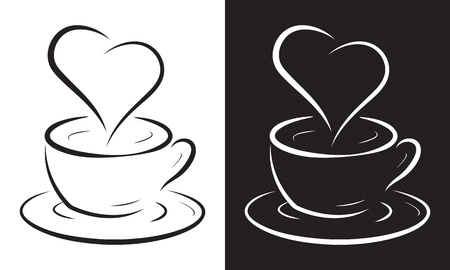 steam: Coffee cup with heart symbol isolated on white, vector illustration. Illustration