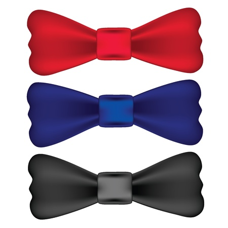 official wear: Red, blue, black bow ties isolated on white background, vector illustration. Illustration