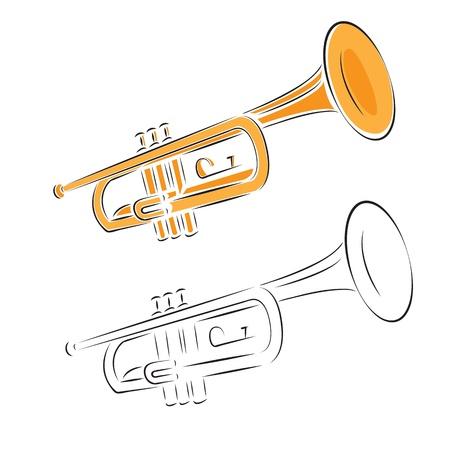 trompeta: Trompeta establece aislado en blanco. Ilustraci�n del vector. Vectores