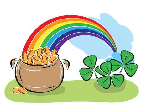 St. Patrick Day pot with coins, rainbow and shamrocks. Vector illustration. Stock Vector - 12490711
