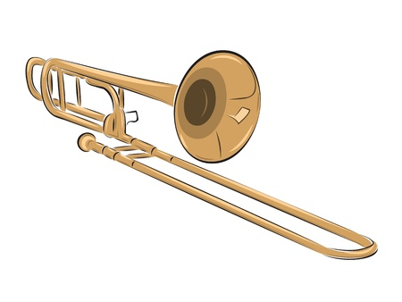 brass wind: musical instrument trombone isolated on white, vector illustration Illustration