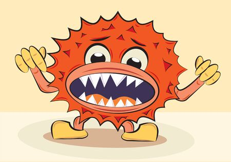 cartoon funny angry bacillus, vector illustration Vector