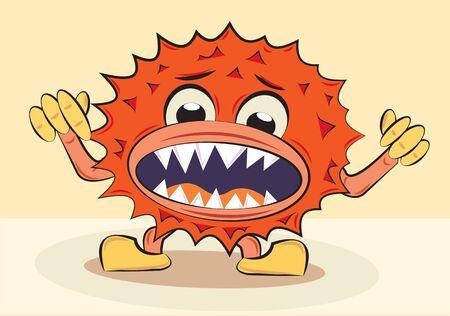 cartoon funny angry bacillus, vector illustration Stock Vector - 12595674