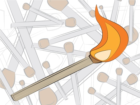 match in fire drawing, vector illustration Vector