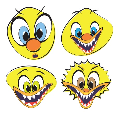Set of funny and ugly smilies, vector illustration. Vector
