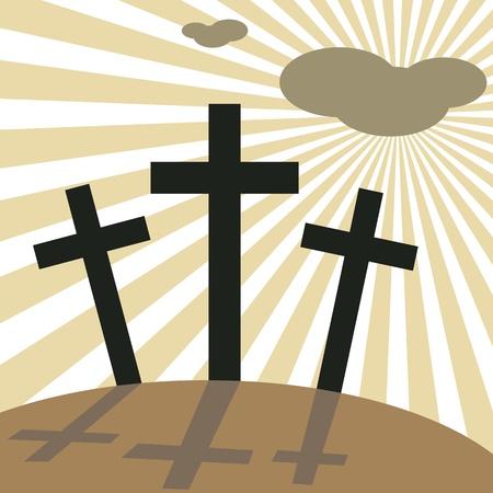 Good Friday Easter Day Crosses, vector illustration.