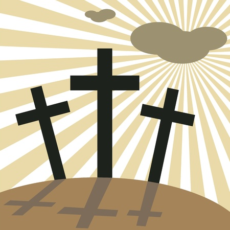 golgotha: Good Friday Easter Day Crosses, vector illustration.