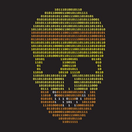 Abstract binary skull on black background, digital information concept vector illustration. Stock Vector - 12772804