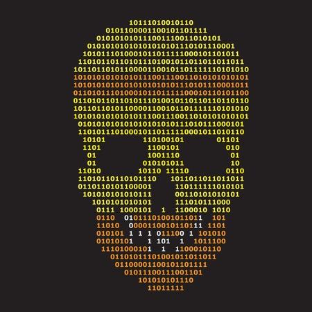 Abstract binary skull on black background, digital information concept vector illustration. Stock Vector - 12772804