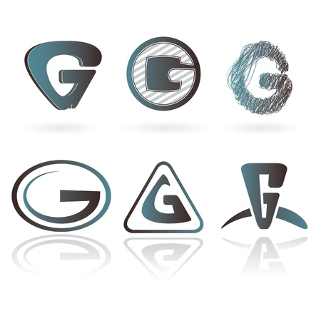 g: Set of designs for letter G isolated on white, vector image.