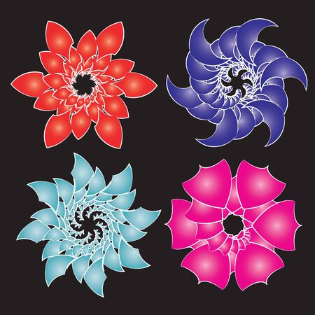 Set of abstract flowers isolated on black, vector image. Stock Vector - 12926867