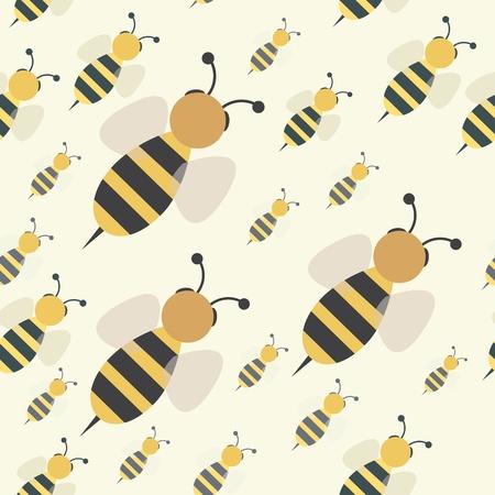 抽象的な飛行蜂蜜蜂群れのシームレスなパターン、ベクトル背景イラスト  イラスト・ベクター素材