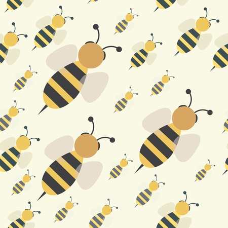 Abstract flying honey bee swarm seamless pattern, vector background illustration
