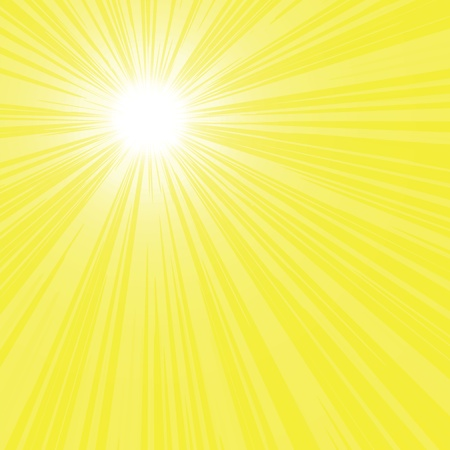 Abstract bright yellow sun rays, background vector illustration.