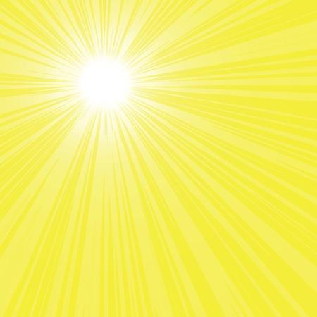 Astratto raggi luminosi sole giallo, illustrazione vettoriale.